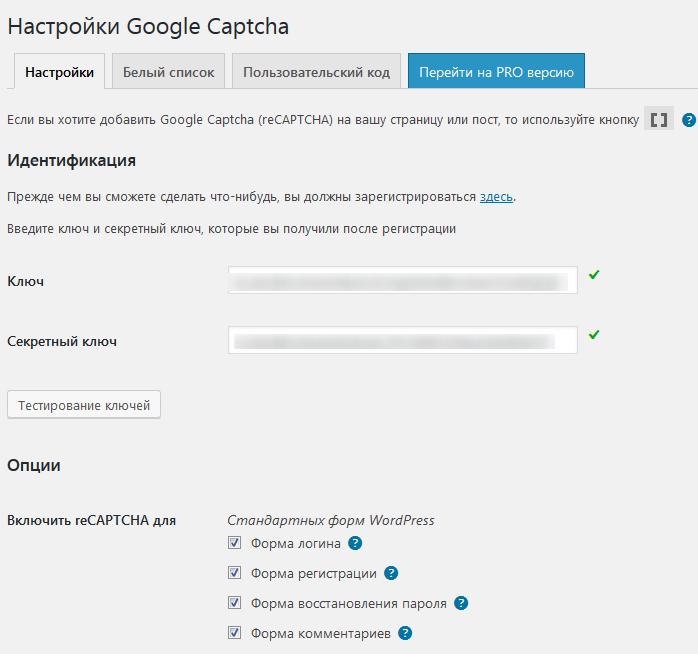Страница настроек плагина Google Captcha (reCAPTCHA) by BestWebSoft