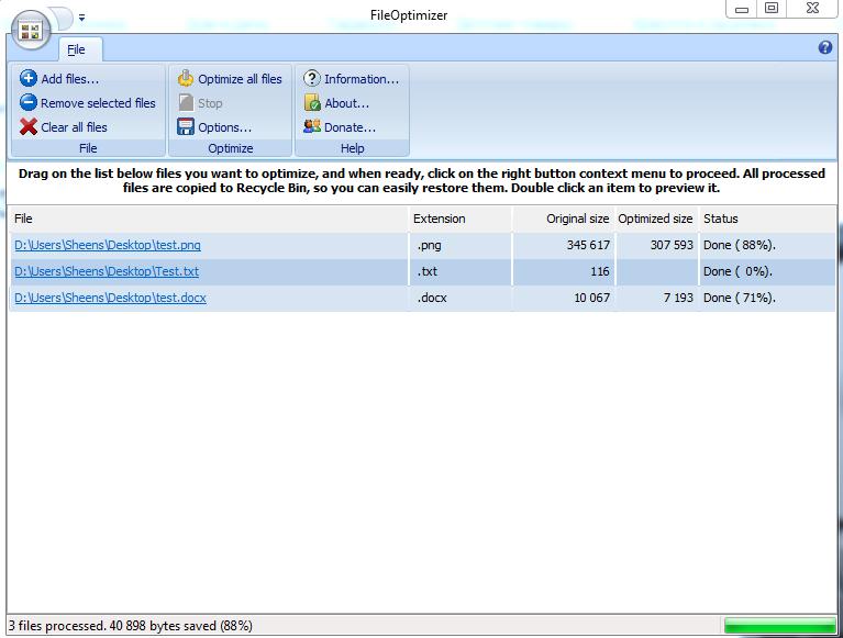 Интерфейс File Optimizer