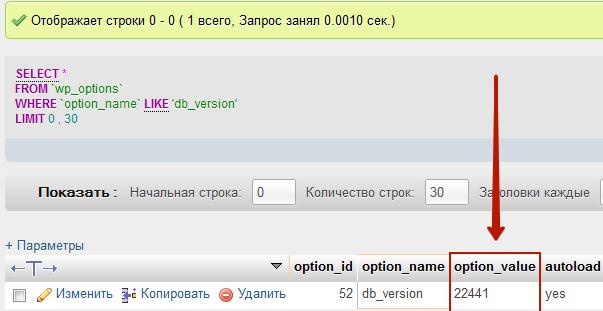 Версия базы данных WordPress