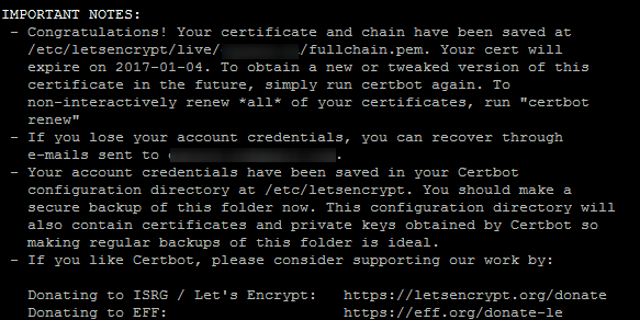 Сертификат Let's Encrypt создан и установлен