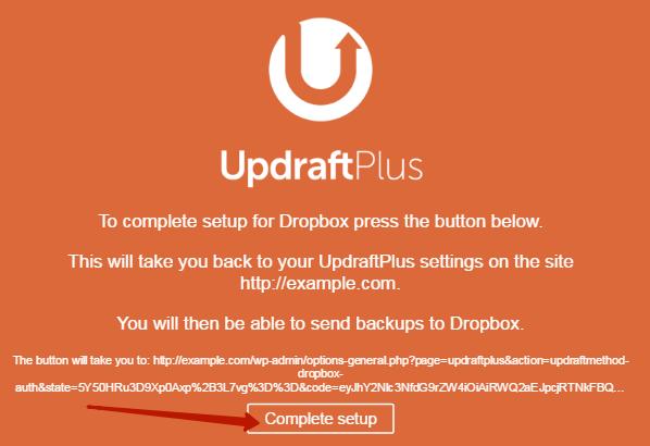 Завершение настройки Updraft в Dropbox