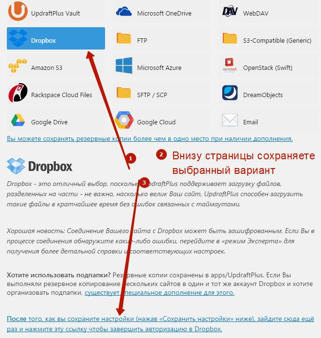 Настройка Updraftplus Dropbox