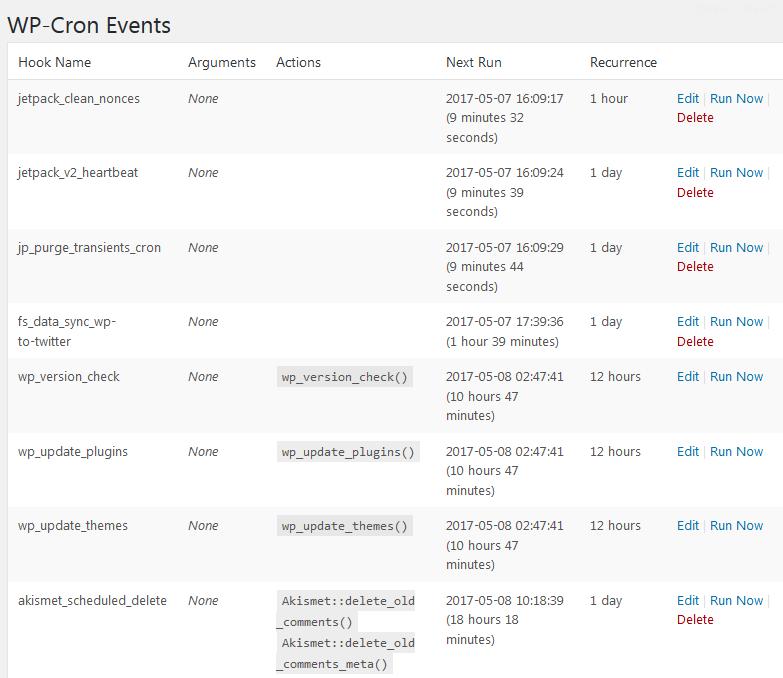 Список событий в WP Crontrol